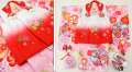 七五三 新作 3歳女の子着物(被布コート)セット【星】◆白赤/ピンク 絞り柄 大花◆138