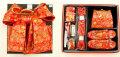 7歳女の子用 同柄・同色の結び帯・箱せこペアセット◆赤色◆6003