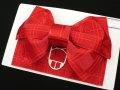 新作 子供浴衣帯 女の子浴衣用 作り帯 付け帯◇濃赤色系 蝶◇6764