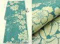 夏祭りや花火大会に!2017年新作 夏物 女性用 綿麻 仕立て上り 高級浴衣(変り織り)◆青緑色系◆7845