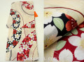 夏祭りや花火大会に!2017年新作 夏物 女性 浴衣(ゆかた)◆生成り系 桜◆7930