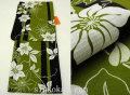 夏祭りや花火大会に!2017年新作 夏物 女性 浴衣(ゆかた)◆黒モスグリーン系 花◆7951
