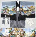 七五三 新作 5歳男の子着物フルセット◆グレー系 兜に熨斗◆8197