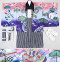 七五三 新作 刺繍入り高級5歳男の子着物フルセット◆桃赤系 兜に龍◆ok8223