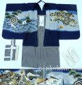 七五三 新作 5歳男の子着物フルセット◆濃紺系 鷹に束ね熨斗◆sdn007