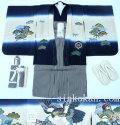 七五三 新作 正絹5歳男の子着物フルセット◆紺色系 鷹◆8267