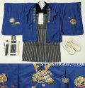 新作 【宮】七五三 5歳男の子 刺繍入り 高級着物フルセット◆青紺系 兜◆8271