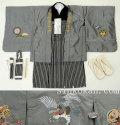 新作 【宮】七五三 5歳男の子 刺繍入り 高級着物フルセット◆グレー系 鷹◆8275