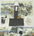 七五三 新作 5歳男の子着物フルセット◆白色系 鷹に兜◆sdn014