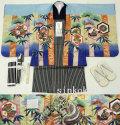 七五三 新作 5歳男の子着物フルセット◆水色系 兜に竹◆sdn019