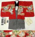 七五三 新作 高級5歳男の子着物フルセット◆刺繍入り 赤茶系 龍◆sdfuji003