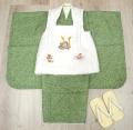 五三 新作 高級3歳男の子着物(被布コート)セット◆刺繍入り 白色系/緑色系 鹿の子柄◆d8340※レンタルも可