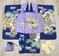 七五三 新作 高級3歳男の子着物(被布コート)セット【優】◆金駒刺繍入り 薄紫色系/紺色系◆8342-006※レンタルも可