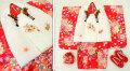 七五三 新作 3歳女の子着物(被布コート)セット【鼓】◆白色刺繍入り 赤色系 乱菊◆007