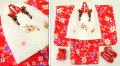 七五三 新作 3歳女の子着物(被布コート)セット【鼓】◆白色刺繍入り 赤色系 撫子◆001