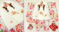 七五三 新作 3歳女の子着物(被布コート)セット【鼓】◆白色刺繍入り 薄水色系 乱菊◆011