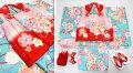 七五三 新作 正絹 3歳女の子着物(被布コート)セット【梅】◆ピンク赤色系/薄青色系 桜に紐大鞠◆465