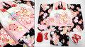 七五三 新作 正絹 3歳女の子着物(被布コート)セット【梅】◆白ピンク系/黒色系 桜に紐大鞠◆466