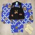 七五三 新作 高級3歳男の子着物(被布コート)セット◆刺繍入り 黒色系/青紺色系◆d8332※レンタルも可