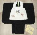 七五三 新作 高級3歳男の子着物(被布コート)セット◆刺繍入り 白色系/黒色系◆d8333※レンタルも可