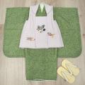 七五三 新作 高級3歳男の子着物(被布コート)セット◆刺繍入り 白色系/緑色系 鹿の子柄◆d8335※レンタルも可