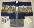 七五三 新作 5歳男の子着物フルセット◆濃紺色系 鷹に富士山◆ngt8345※レンタルも可
