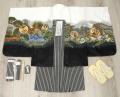 七五三 新作 5歳男の子着物フルセット◆白色系 鷹に富士山◆ngt8347※レンタルも可