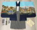 七五三 新作 5歳男の子着物フルセット◆水色系 鷹に富士山◆ngt8348※レンタルも可