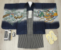 七五三 新作 5歳男の子着物フルセット◆濃紺色系 兜に御所車◆ngt8361※レンタルも可