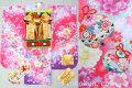 七五三 新作 7歳女子用高級着物フルセット◆赤ピンク系 刺繍入り◆【矢車草】633