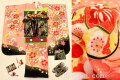 七五三 正絹7歳用女の子高級着物フルセット◆ピンク系 桜に鼓◆sdyuri1005