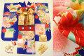 七五三 正絹7歳用女の子高級着物フルセット◆青紺色系 格子ぼかし 桜に花◆sdyuri1024