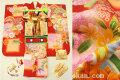 七五三 正絹7歳用女の子高級着物フルセット◆赤茶色系 格子ぼかし 桜に花◆sdyuri1025