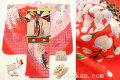 七五三 新作 7歳女子用高級着物フルセット◆赤色系 鞠に藤◆syou1027