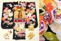 七五三 2020年新作 7歳用女の子高級着物フルセット◆黒色系 鞠に桜◆【さざんか】1034-003