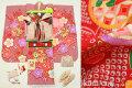 七五三 2020年新作 正絹7歳用女の子高級着物フルセット【ハマナス】◆しぼり柄 赤色系 梅に鼓(金駒刺繍入)◆1043-845
