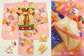 七五三 正絹7歳用女の子高級着物フルセット◆ピンク系 矢羽に花◆sdyuri1050※レンタルも可