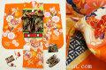 七五三 正絹7歳用女の子高級着物フルセット◆オレンジ系 矢羽に花◆sdyuri1051※レンタルも可