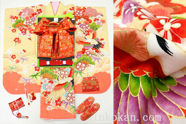 七五三 正絹7歳用女の子高級着物フルセット◆ベージュ系 鶴に桜◆sdyuri005※レンタルも可