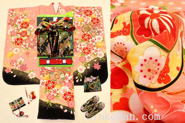 七五三 正絹7歳用女の子高級着物フルセット◆ピンク系 桜に鼓◆sdyuri1005※レンタルも可