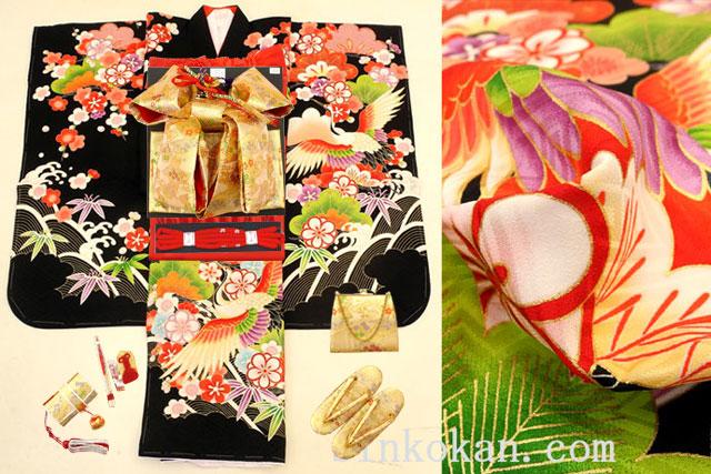 七五三 正絹7歳用女の子高級着物フルセット◆黒色系 祝い鶴◆sdyuri1015※レンタルも可