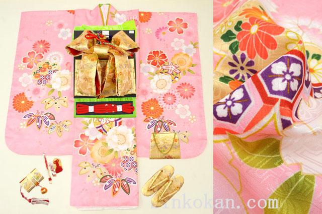 七五三 新作 7歳用女の子高級着物フルセット◆ピンク色系 鞠に桜◆【さざんか】1035-002※レンタルも可