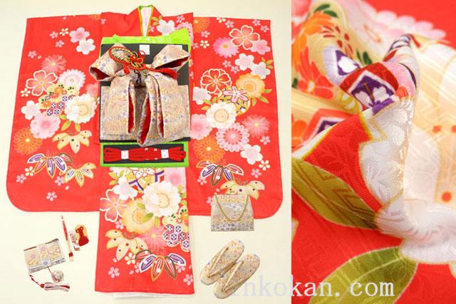 七五三 新作 7歳用女の子高級着物フルセット◆赤色系 鞠に桜◆【さざんか】1036-001※レンタルも可
