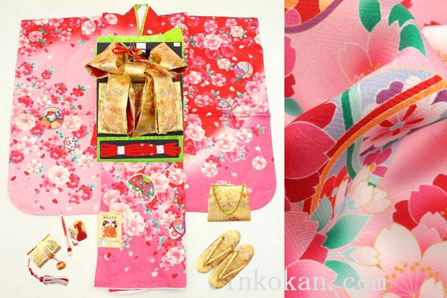 新作 七五三 正絹7歳用女の子高級着物フルセット◆赤ピンク色系 鞠に桜◆sup801-1071※レンタルも可