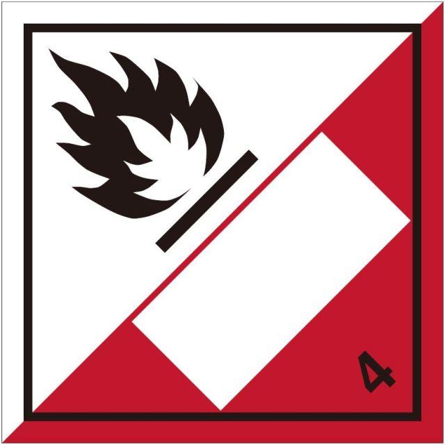 等級4.2 自然発火性物質 標識(コンテナ・国連番号表示用)〔印字代別〕