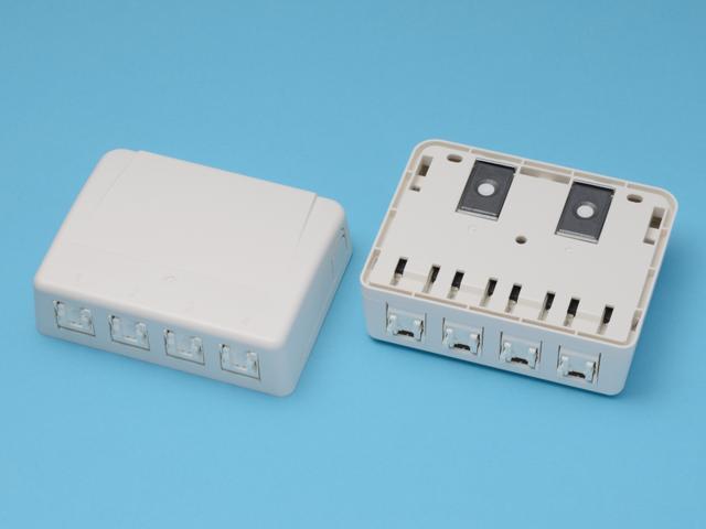 八光電機製作所 LAN用ローゼット ≪ CAT5e対応 4口タイプ ≫ LMJ-NT4-5e