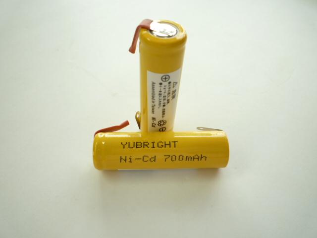 【送料無料 メール便選択時】 ニカド電池 単3形 タブ付 1.2V 700mAh ≪ 2本パック ≫