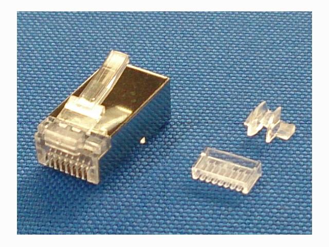 スカイニー カテゴリー6対応 自作用 LANモジュラープラグ ≪ 単線専用 100個入り ≫ 3ピースタイプ ノイズシールド付 MP8C-S3P-100