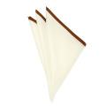 [軽井沢シャツ] ポケットチーフ 縦31cm×横31cm 日本製 オフホワイト×ワインレッド縁取り <P91KZT023>