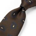 [軽井沢シャツ] 日本製 西陣織 ブラウン系ペイズリー小紋柄 P94KZT854